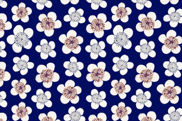 ヴィンテージ日本のシームレスな梅の花のパターン、渡辺省亭によるアートワークのリミックス