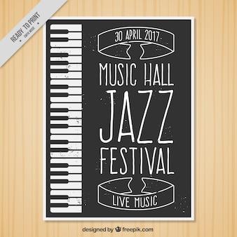 Brochure vintage jazz con pianoforte