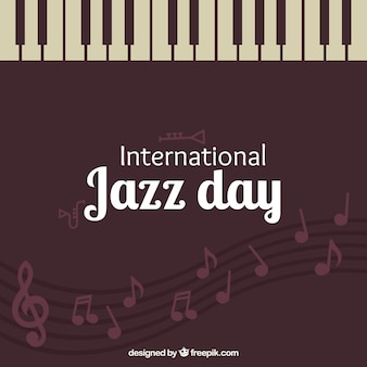 피아노 키와 빈티지 재즈 날 배경
