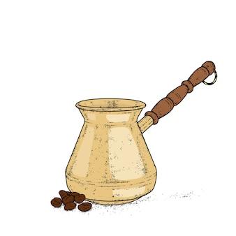 커피 빈티지 jezva. 삽화.