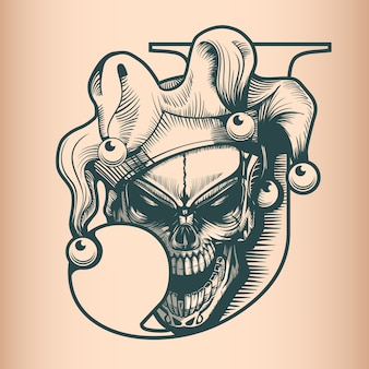 Vintage joker skull, monochrome hand drawn tatoo style