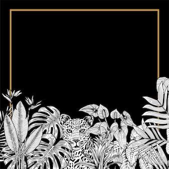 Винтажная пригласительная открытка джунглей с леопардом и тропическими растениями. черное и белое.