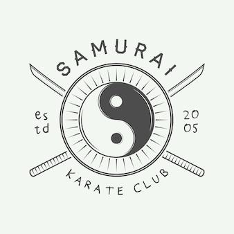 Винтажные каратэ или логотип боевых искусств, эмблема, значок, этикетка и элементы дизайна. векторная иллюстрация