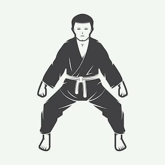 Винтажные карате или логотип боевых искусств, эмблема, значок, этикетка и элементы дизайна. векторная иллюстрация