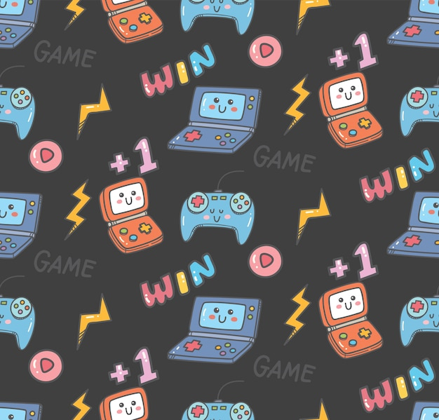 Vintage kawaii video game seamless