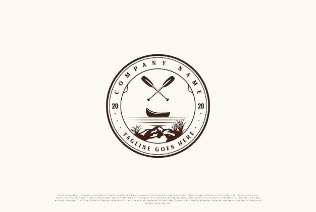Vintage kayak canoe rafting boat badge emblem for sport club logo design vector