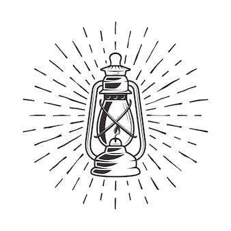 Vintage kerosene lantern with rays illustration in retro style
