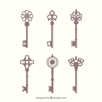 Vintage key collection Free Vector