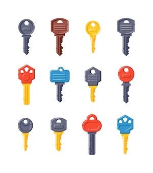 Vintage key  isolated icon set
