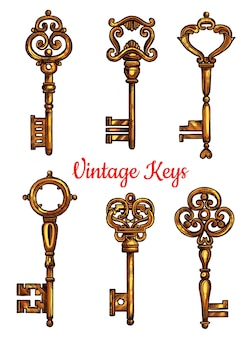 Vintage key isolated sketch set design