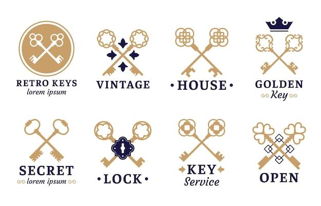 Vintage key label. old keys emblem, retro lock and key service set.