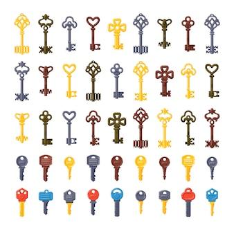 Vintage key vector isolated set