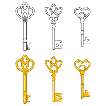 Vintage keys cartoon set