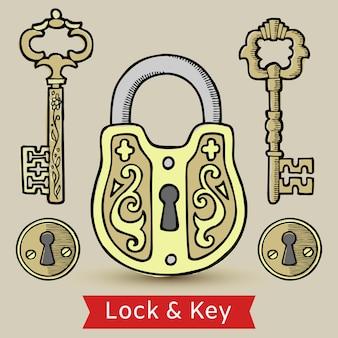 Vintage keys lock and keyholes isolated illustration.