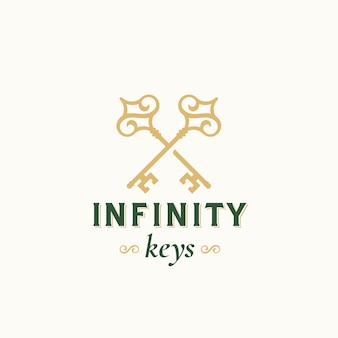 Vintage keys with infinity swirls. abstract vector sign, symbol or logo template