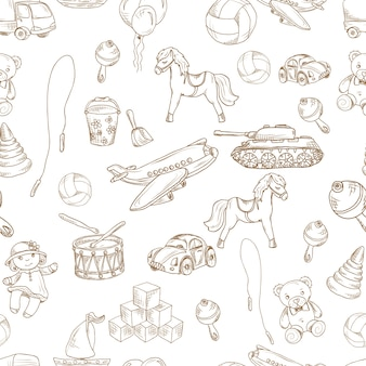 Vintage kids toys sketch seamless pattern with blocks balloon jumping rope vector illustration.