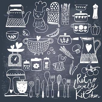 Vintage kitchen set in vector on chalkboard background