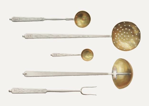 Illustrazione vettoriale di utensili da cucina vintage, remixata dall'opera d'arte di fritz boehmer