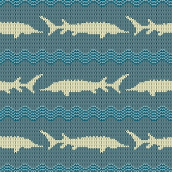Vintage knitted woolen seamless pattern with sturgeons