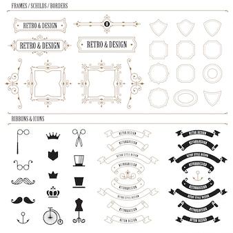 ビンテージラベルバッジデザイン。レトロクラシックスタイルのロゴコンストラクター。