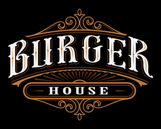Vintage label of burger. lettering  of catering on dark background. all objects are on the separate groups.