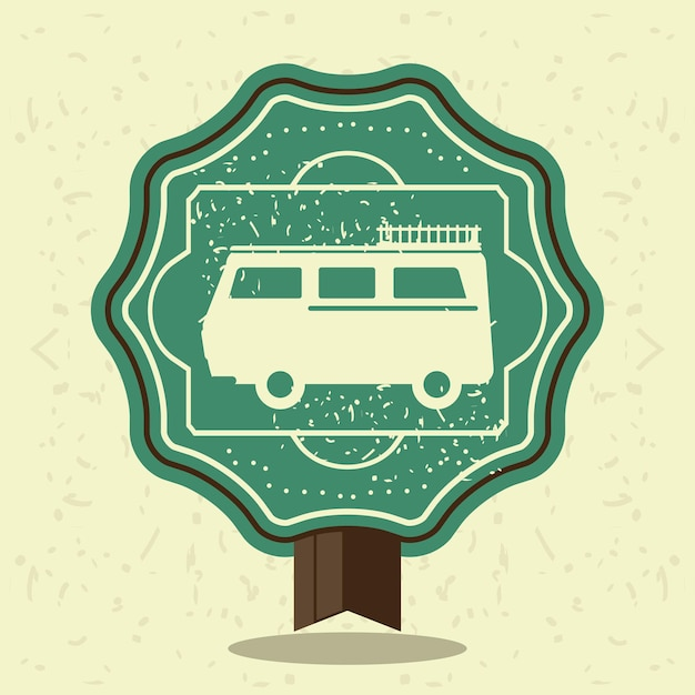 Vintage label car travel template