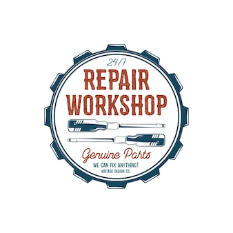 Vintage label design. repair workshop emblem in retro colors style with garage tools - screwdrivers and vector typography elements.