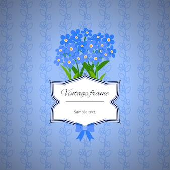 Vintage label design with blue flowers