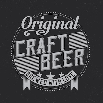 Vintage label design with lettering composition on dark background