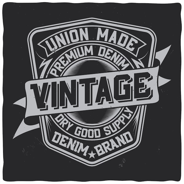 Design etichetta vintage con composizione scritta su oscurità