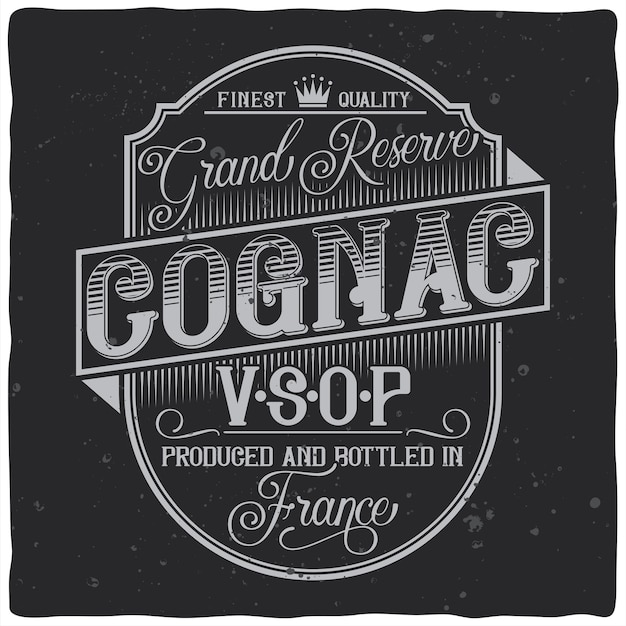 Vintage label design with lettering composition on dark