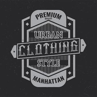 Vintage label design with lettering composition on dark .