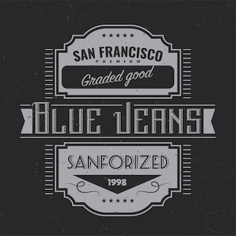 Vintage label design with lettering composition on dark