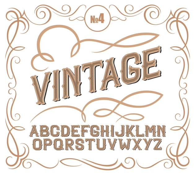 Vintage label font alcogol label style