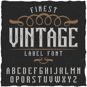빈티지 라벨 글꼴. 모든 클래식 라벨 디자인에 사용하기 좋습니다.