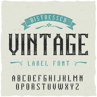 Carattere etichetta vintage. buono da usare in qualsiasi design di etichette classico.