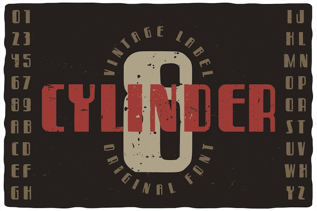 Vintage label font named eight cylinder. retro typeface with letters and numbers for any your design like posters, t-shirts, logo, labels etc.