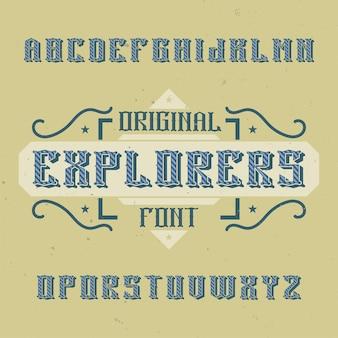 Carattere di etichetta vintage denominato esploratori