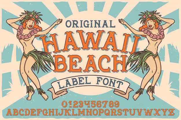 Vintage label font named hawaii beach