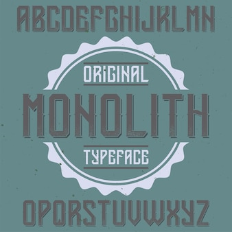 Monolith라는 빈티지 라벨 글꼴
