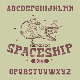 Carattere di etichetta vintage denominato astronave