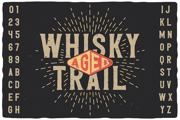 Vintage label font named whisky trail.