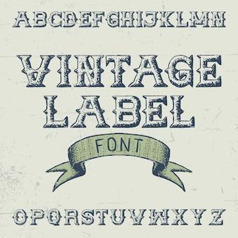 Vintage label font poster with alphabet on the grey illustration