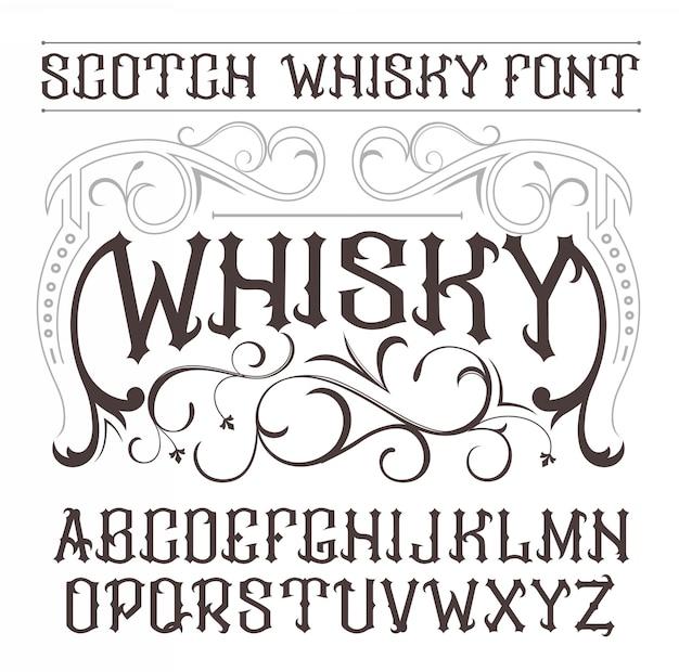 Vintage label font whisky style