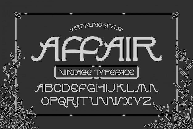 Старинный шрифт с декоративной рамкой