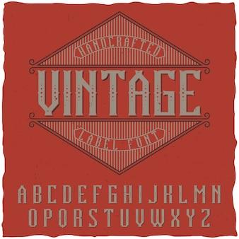 Carattere etichetta vintage