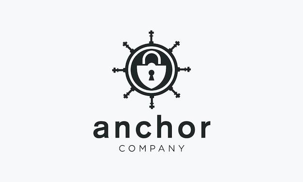 Vintage label logo design with security anchor