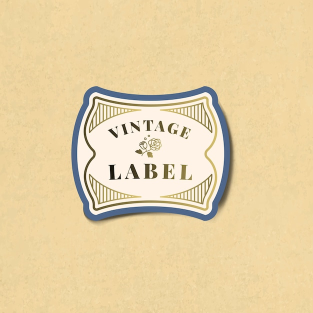 Vintage label sticker decorated with roses
