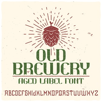 Vintage label typeface called