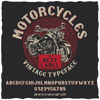 Vintage label typeface motorcycles poster with simple label design with hand drawn bike